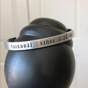 "Jewelry - Hand Stamped Cuff - ""Football Kinda Girl"" 🏈"